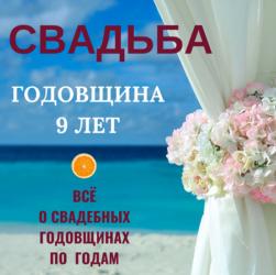 Годовщина свадьбы на 9 лет — идеи, поздравления и подарок