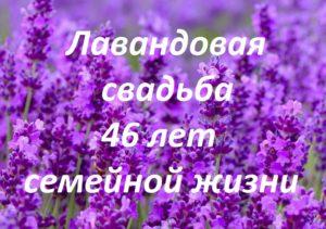 Лавандовая свадьба 46 лет семейной жизни - надпись на фото цветущей лаванды