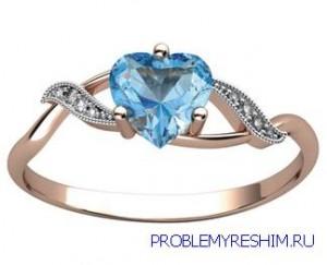 свадебное кольцо с аквамарином