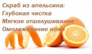 Скраб из апельсина - надпись на фото порезанного апельсина