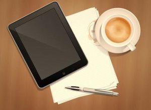 работа в интернете после 50 - гаджет, кофе, записи