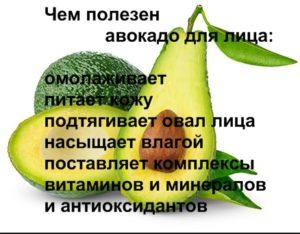 список полезный свойств авокадо для лица