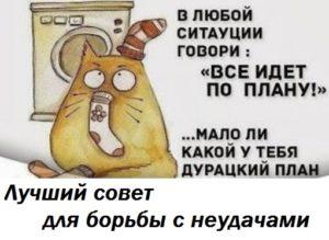 Лучший совет для борьбы с неудачами - подпись под рисунком кота с носками на голове