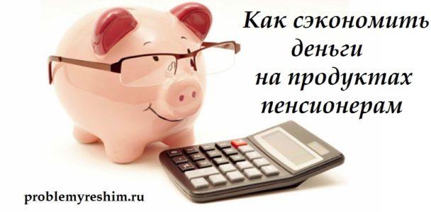 Как сэкономить деньги на продуктах пенсионерам - надпись на фото свиньи-копилки и калькулятора