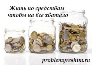 Жить по средствам чтобы на все хватало - надпись на фото трех банок с деньгами
