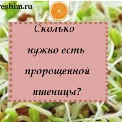 Сколько нужно есть пророщенной пшеницы? — надпись на фото ростков и логотипа